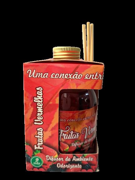 Kit com 3 DIfusores de Ambiente Odorizadores Tipo: Frutas Vermelhas, Sete Maravilhas, Bambo  250ml  - Fribasex - Fabricasex.com