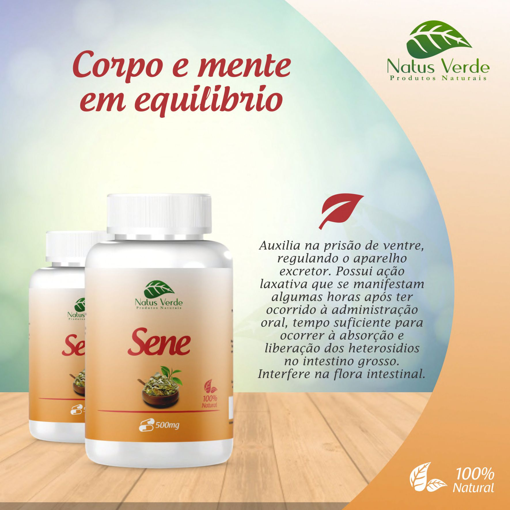 Laxante Natural Sene produto orgânico 60 Caps Natus Verde   - Fribasex - Fabricasex.com