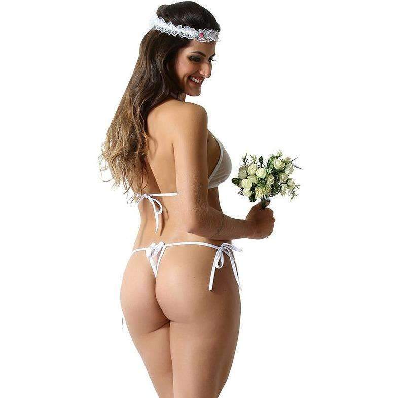 Lingerie Erotica  Mini Fantasia Noiva  - Fribasex - Fabricasex.com