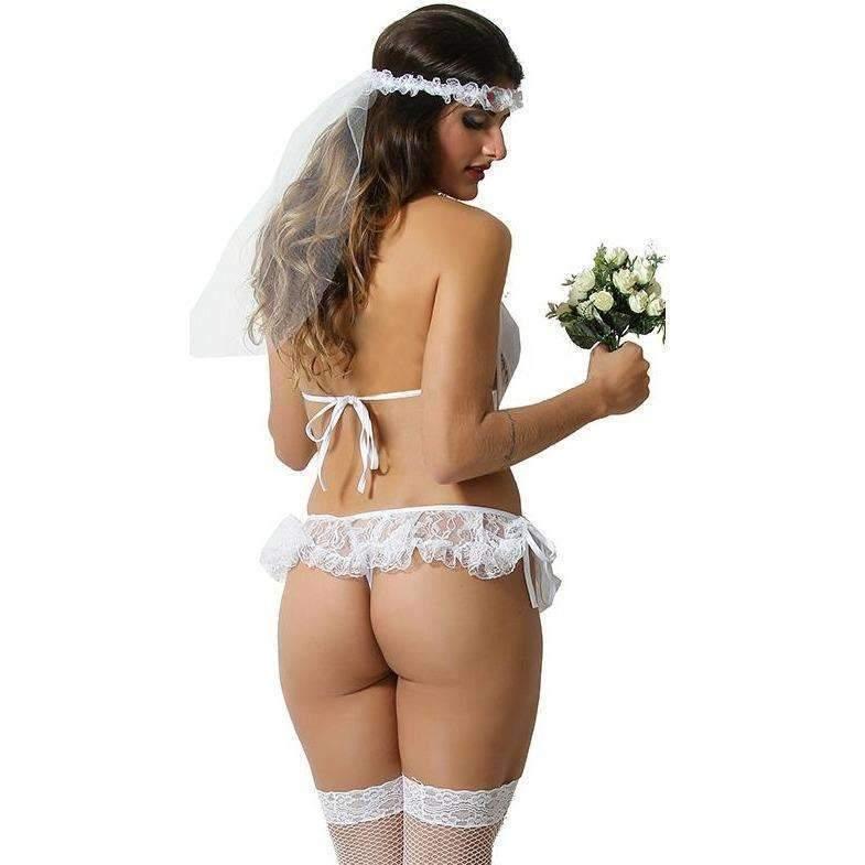 Lingeries Sexys  Fantasia Noivinha  - Fribasex - Fabricasex.com