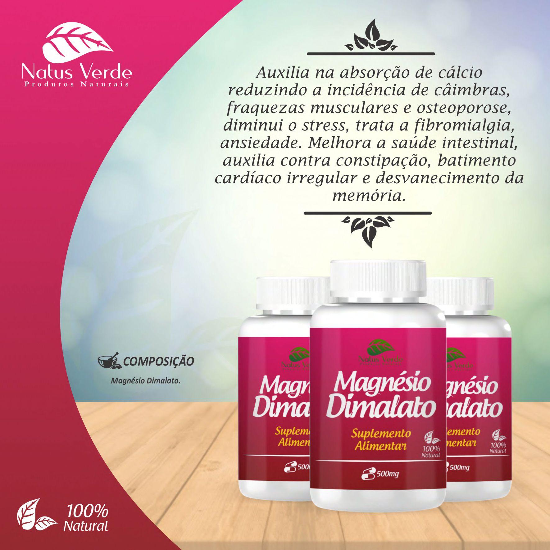 Magnésio Dimalato Suplemento Alimentar Natus Verde  - Fribasex - Fabricasex.com