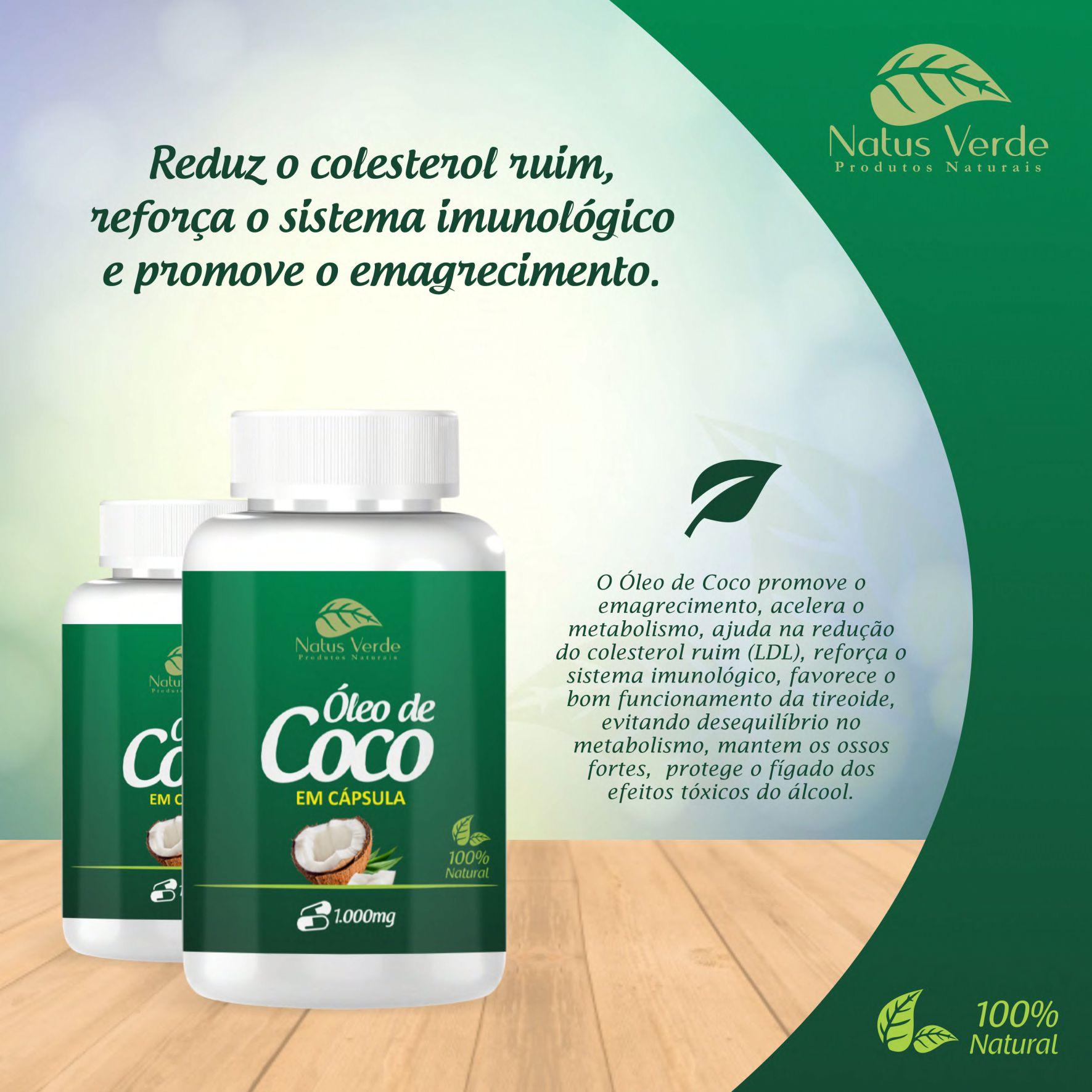 Óleo de Coco em Capsula 60 Caps Natus Verde  - Fribasex - Fabricasex.com