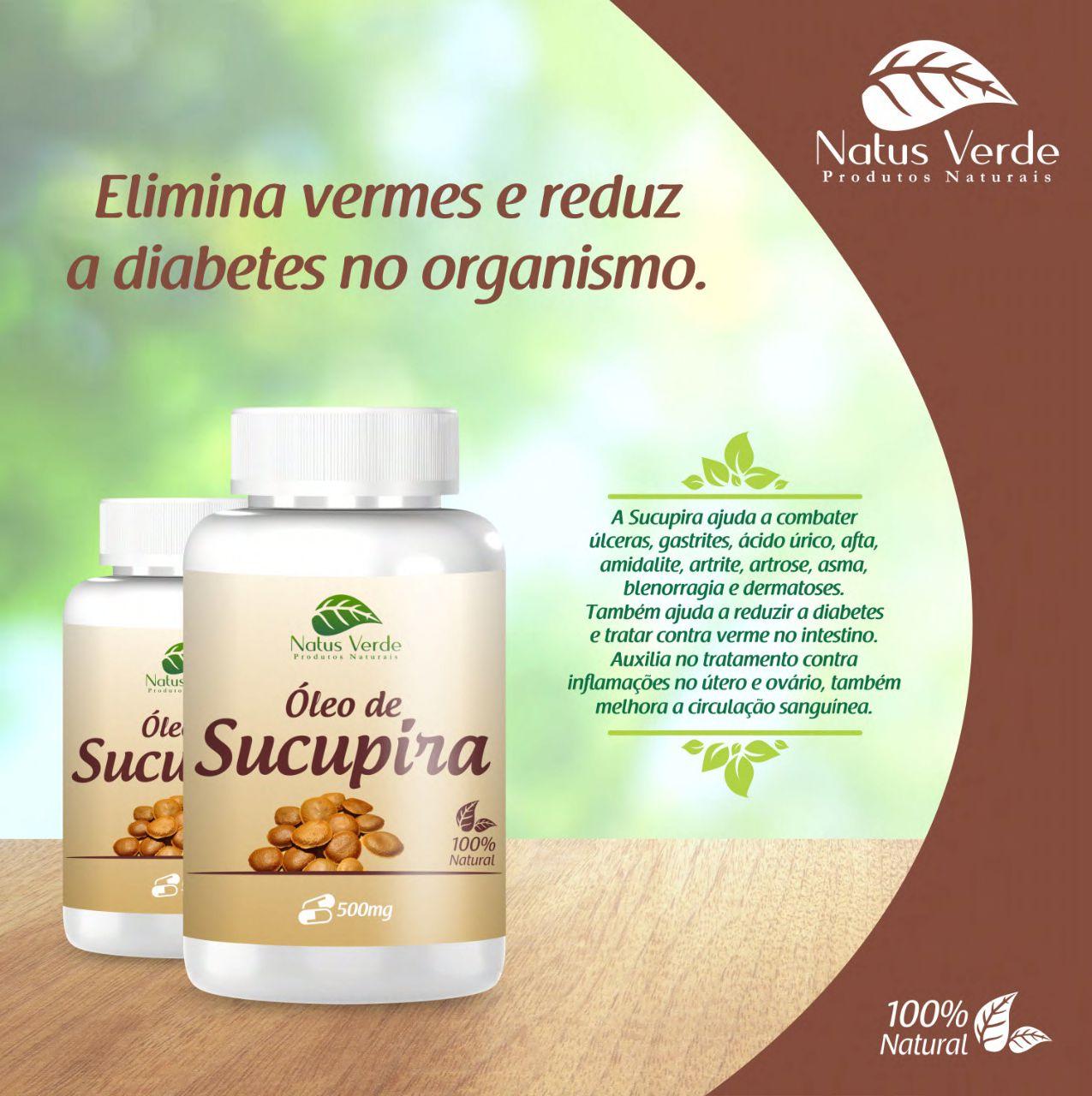 Óleo de Sucupira Produto natural 60 Caps Natus Verde  - Fribasex - Fabricasex.com