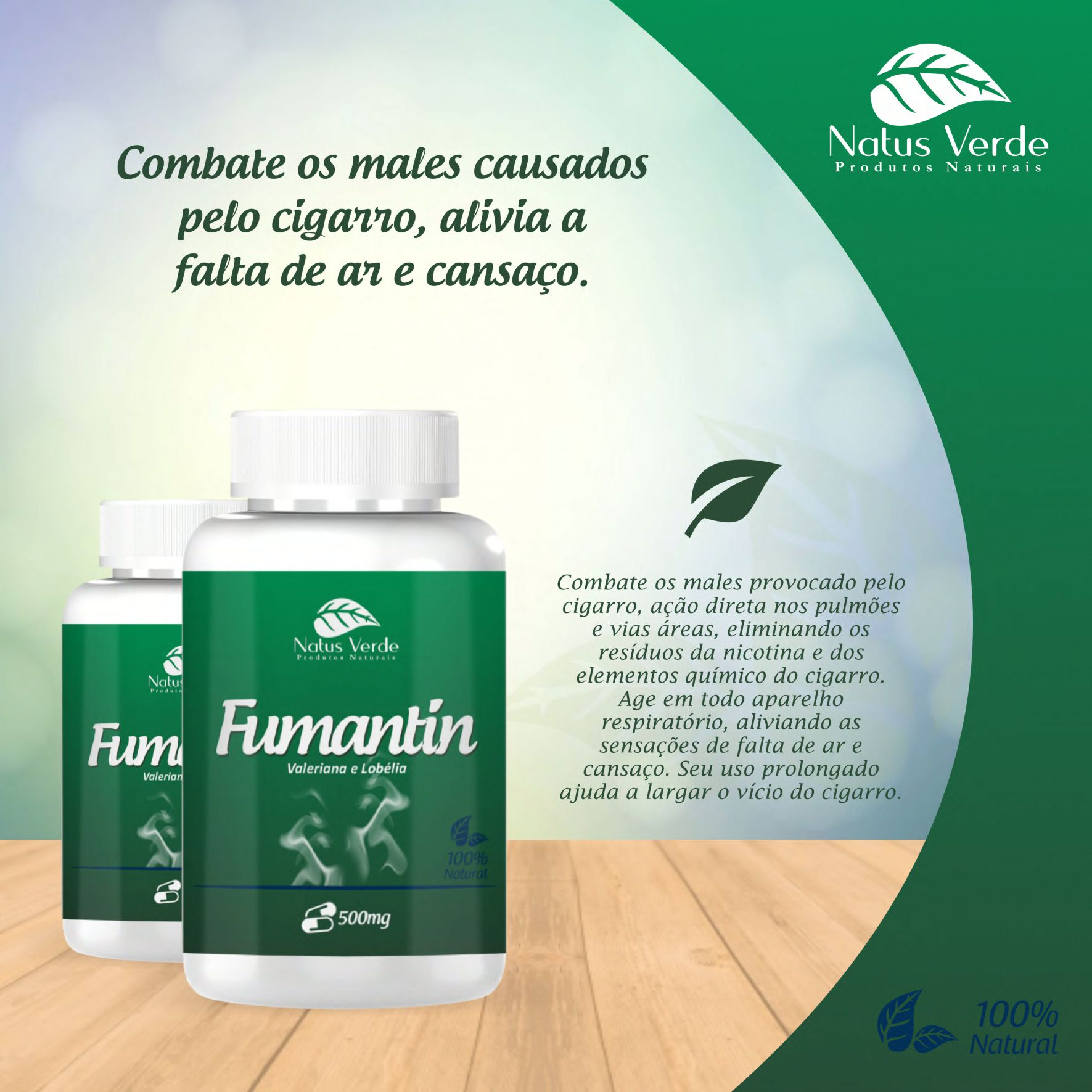 Produto Antitabagista Fumantin 60 Caps Natus Verde  - Fribasex - Fabricasex.com