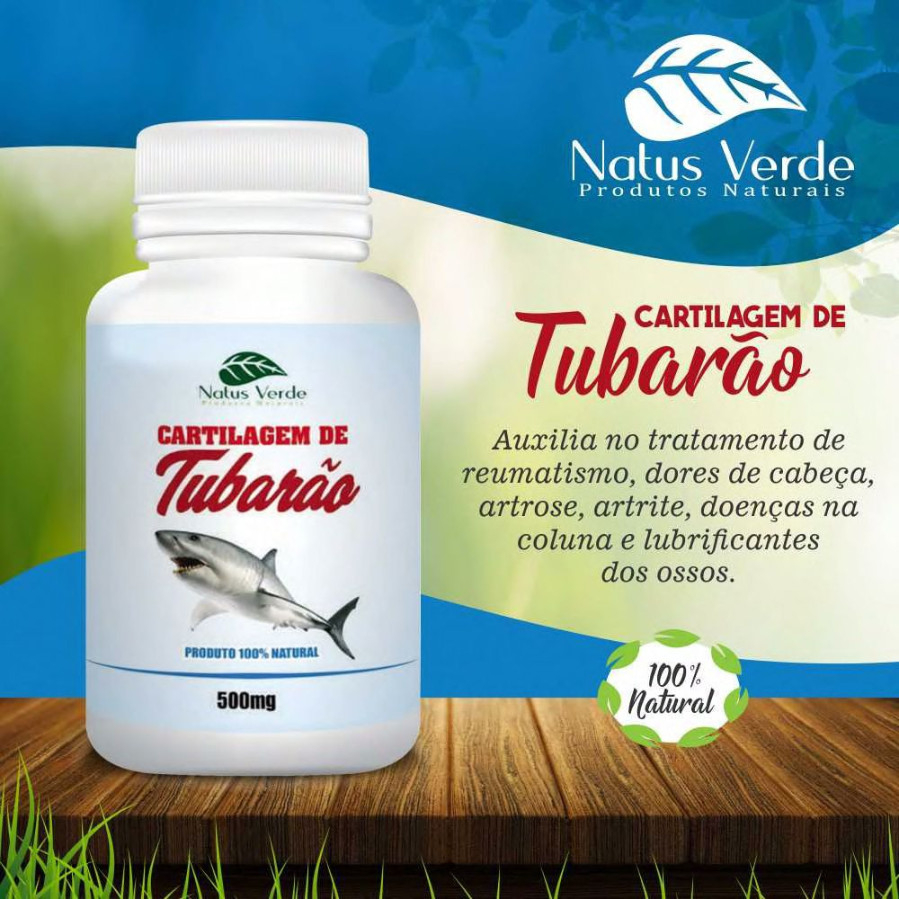 Produto Natural Cartilagem de Tubarão  Natus Verde 60caps  - Fribasex - Fabricasex.com