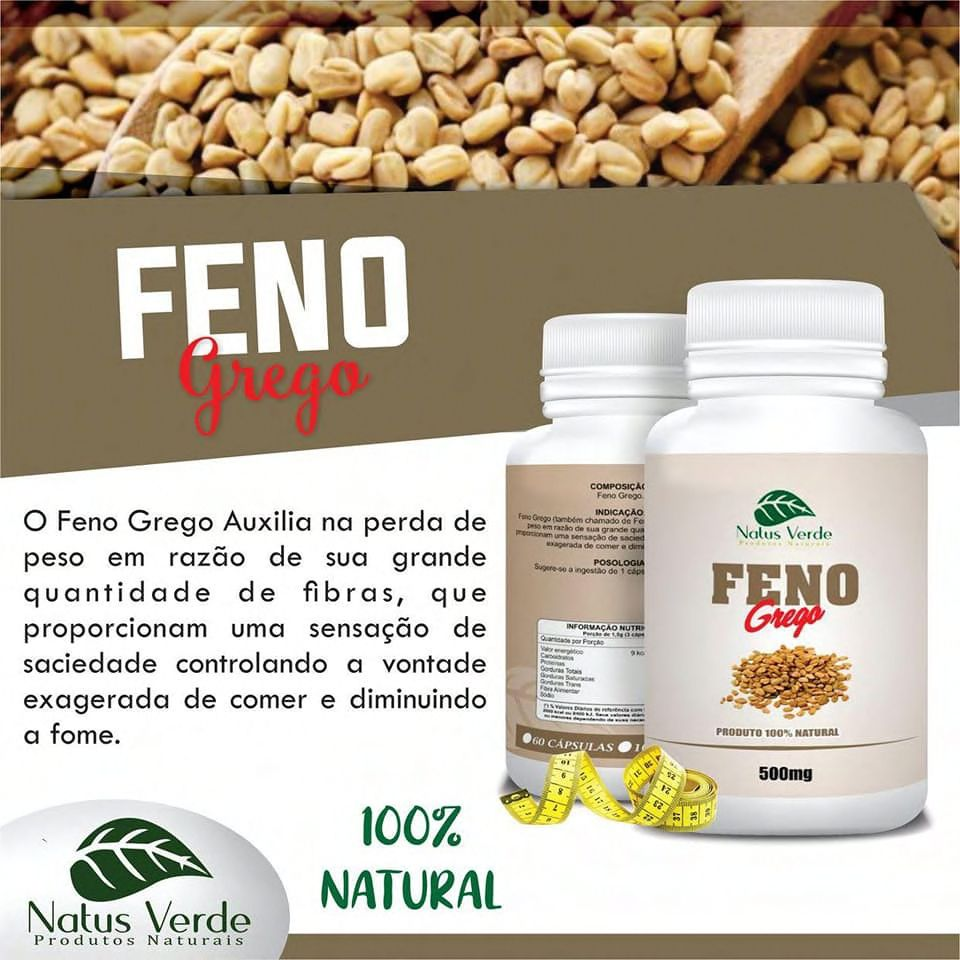 Produto Natural Feno Grego 60 CAPS Natus Verde  - Fribasex - Fabricasex.com