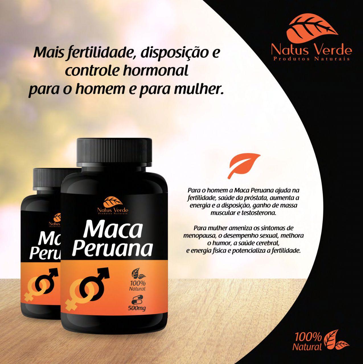 Produto Natural Maca Peruana 60 Caps Natus Verde  - Fribasex - Fabricasex.com