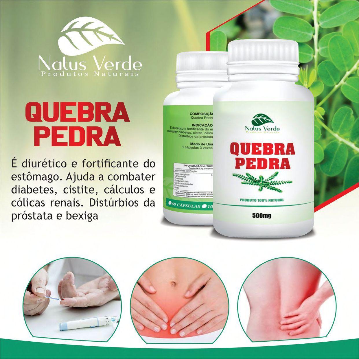 Produto Natural Quebra Pedra 60 Caps Natus Verde  - Fribasex - Fabricasex.com