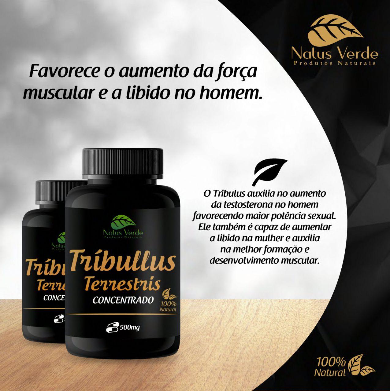 Produto Natural Tríbullus Terrestris Concentrado 60 caps Natus Verde  - Fribasex - Fabricasex.com