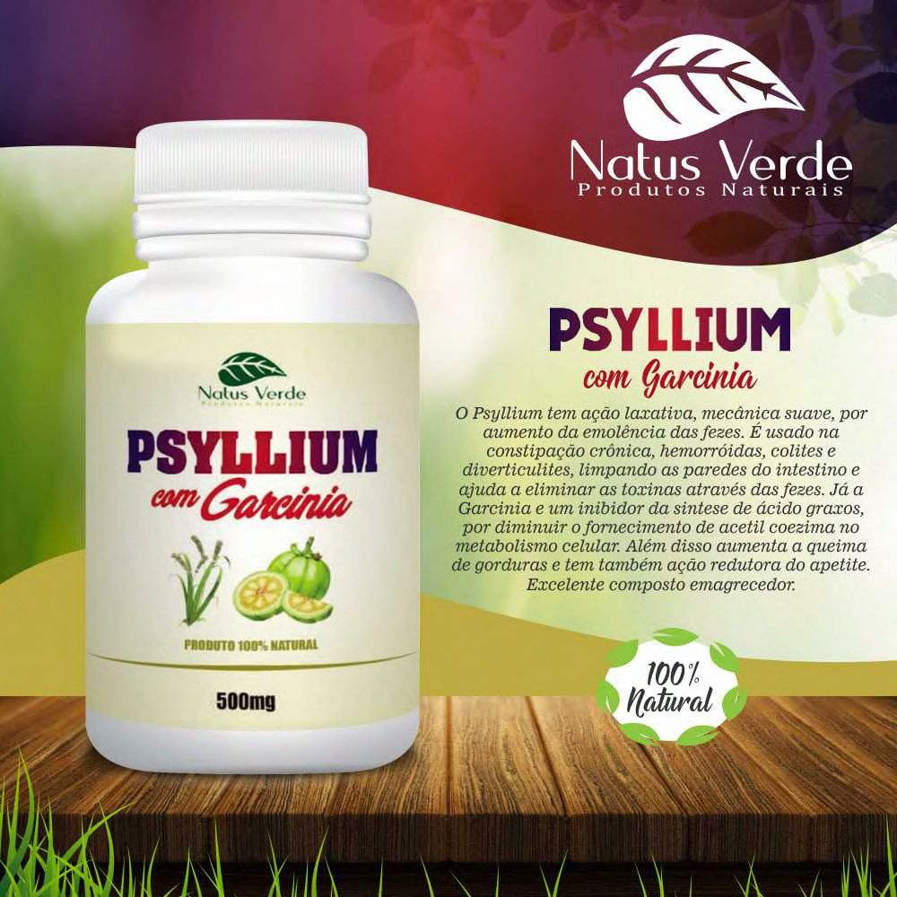 Psyllium Com Garcinia 60 Caps Natus Verde  - Fribasex - Fabricasex.com