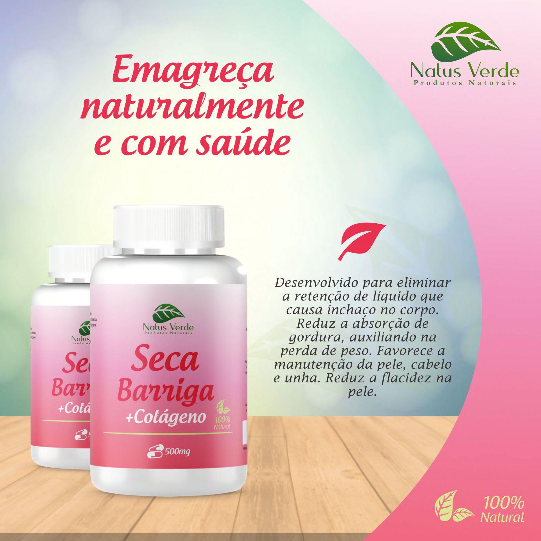 Seca Barriga Com Colágeno Produto natural 60 Caps Natus Verde   - Fribasex - Fabricasex.com
