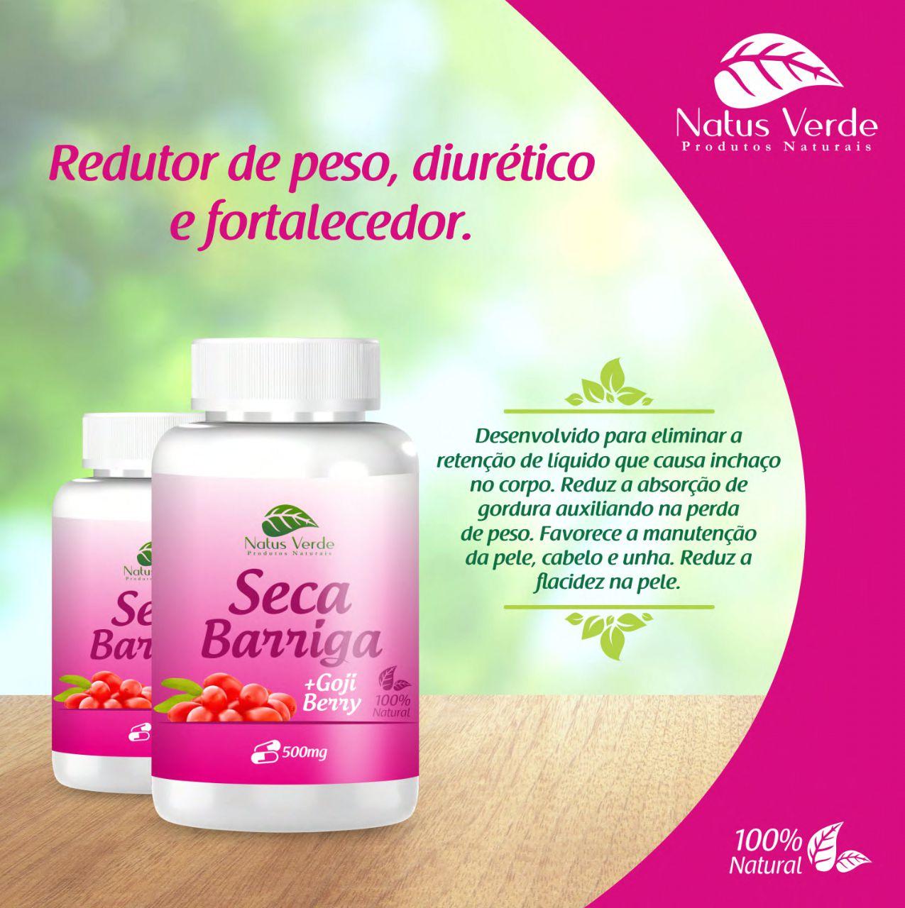 Seca Barriga Natural com Goji Berry Produto Natural Natus Verde  - Fribasex - Fabricasex.com