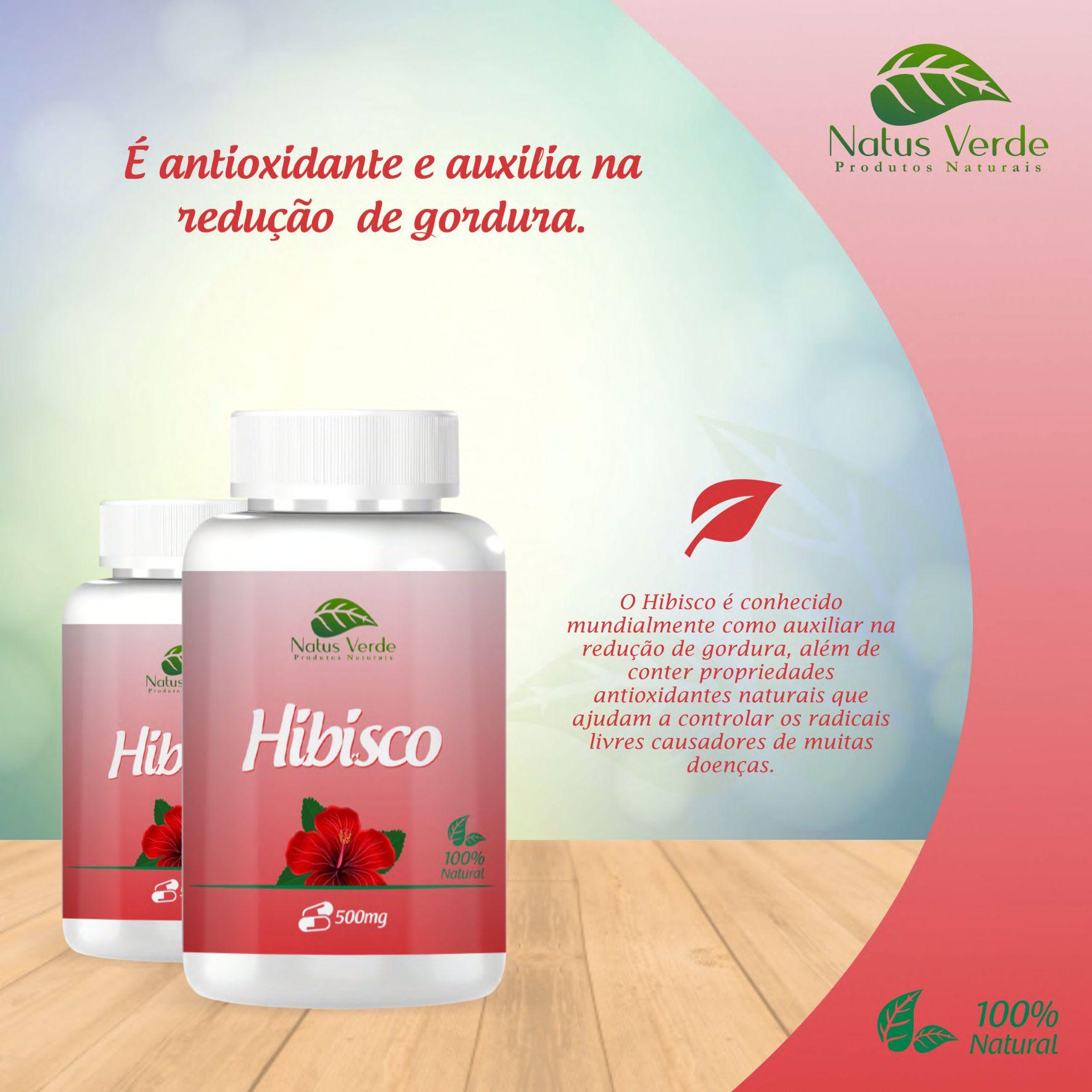 Seca Barriga Natural Hibisco 60 Caps Natus Verde   - Fribasex - Fabricasex.com