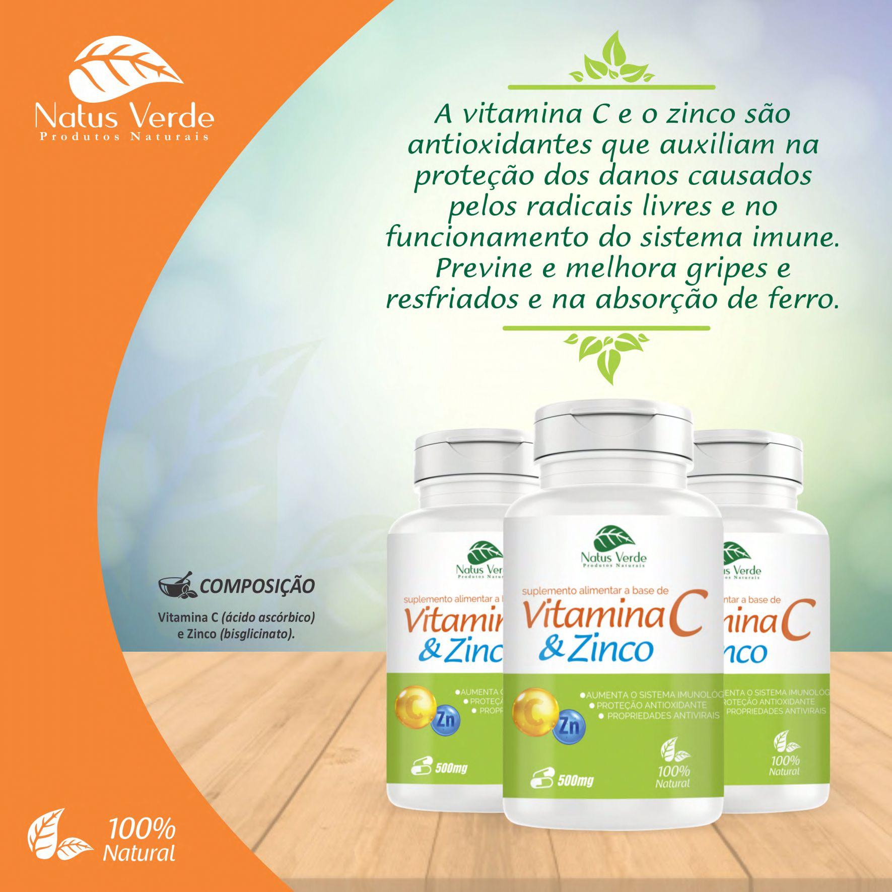 Suplemento Alimentar a Base de Vitamina C e zinco 500mg 60 Caps Natus Verde  - Fribasex - Fabricasex.com