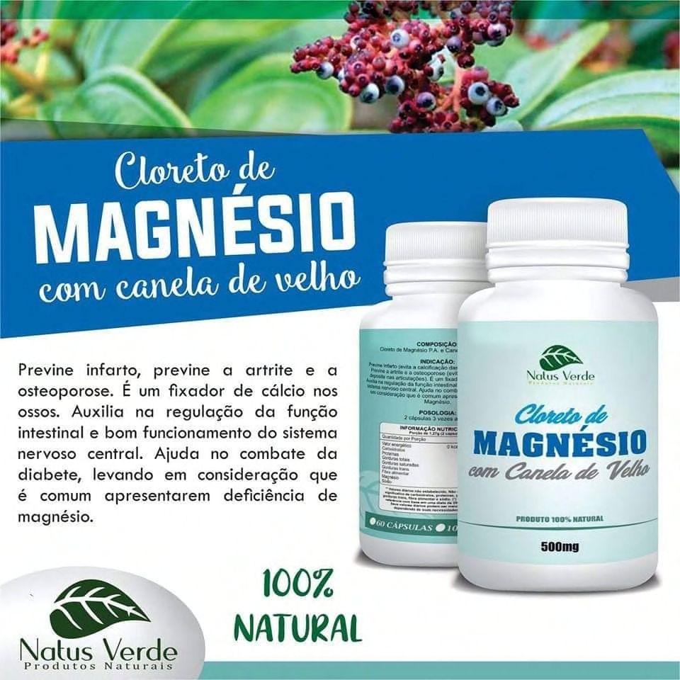 Suplemento Alimentar Cloreto De Magnesio P.A Com Canela De Velho 60 Caps. Natus Verde  - Fribasex - Fabricasex.com