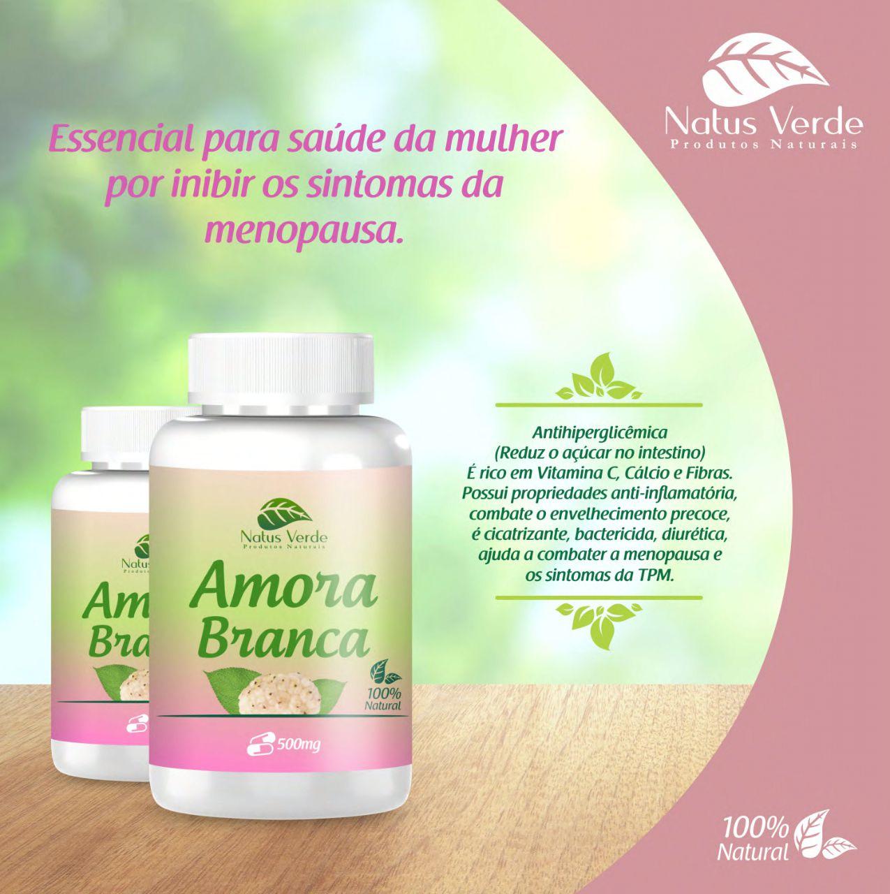 Suplemento Alimentício Amora Branca 60 Caps Natus Verde  - Fribasex - Fabricasex.com