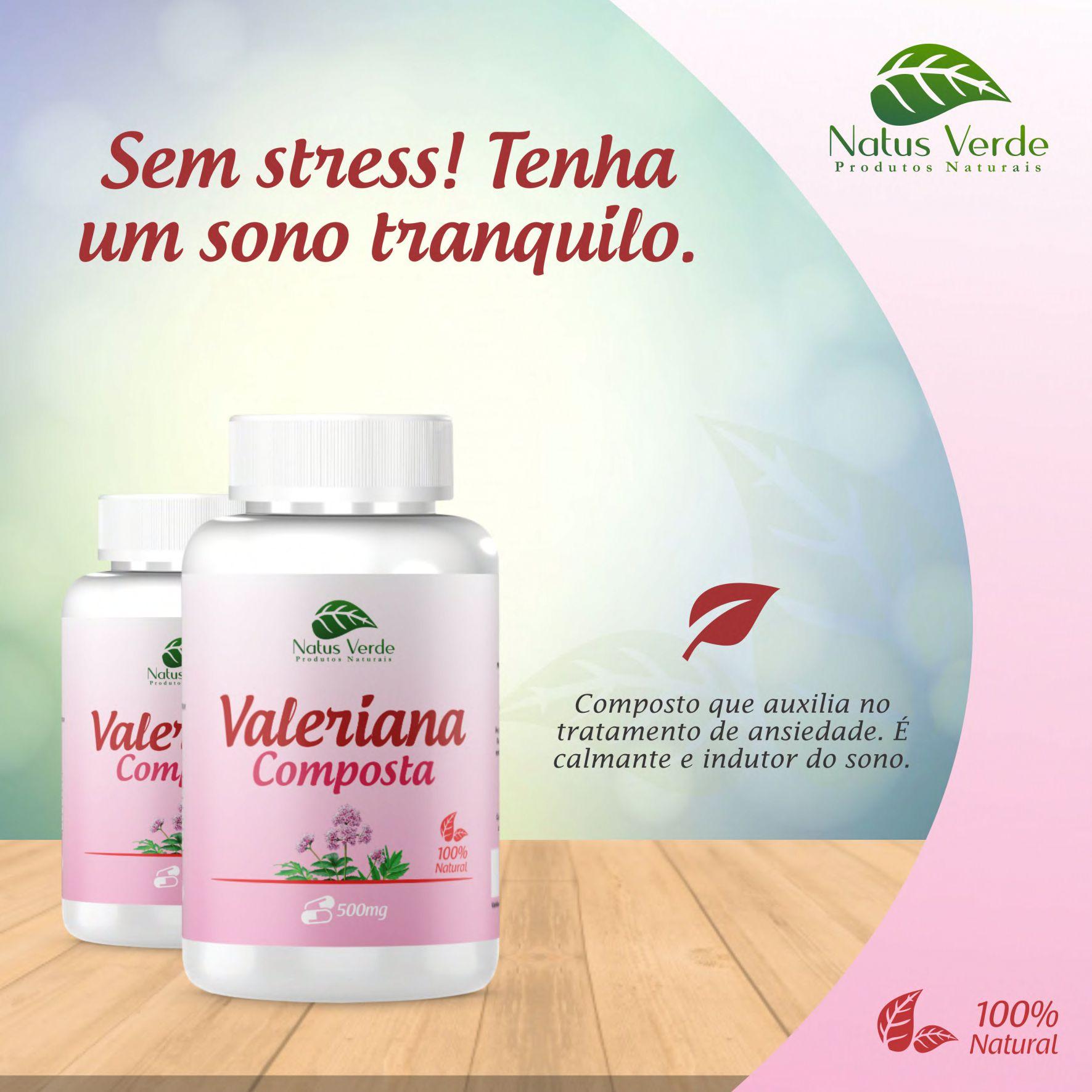 Valeriana Composta Relaxante Natural 500mg 60 Caps Natus Verde  - Fribasex - Fabricasex.com