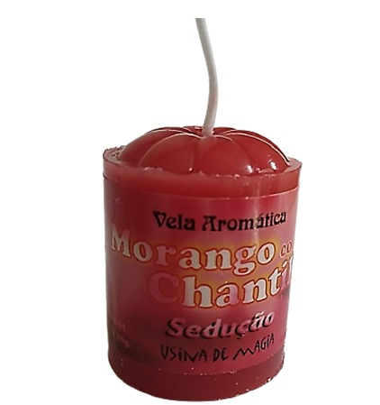 Vela Aromatica de Morango Chantily Sedução Unitária 30gr  - Fribasex - Fabricasex.com