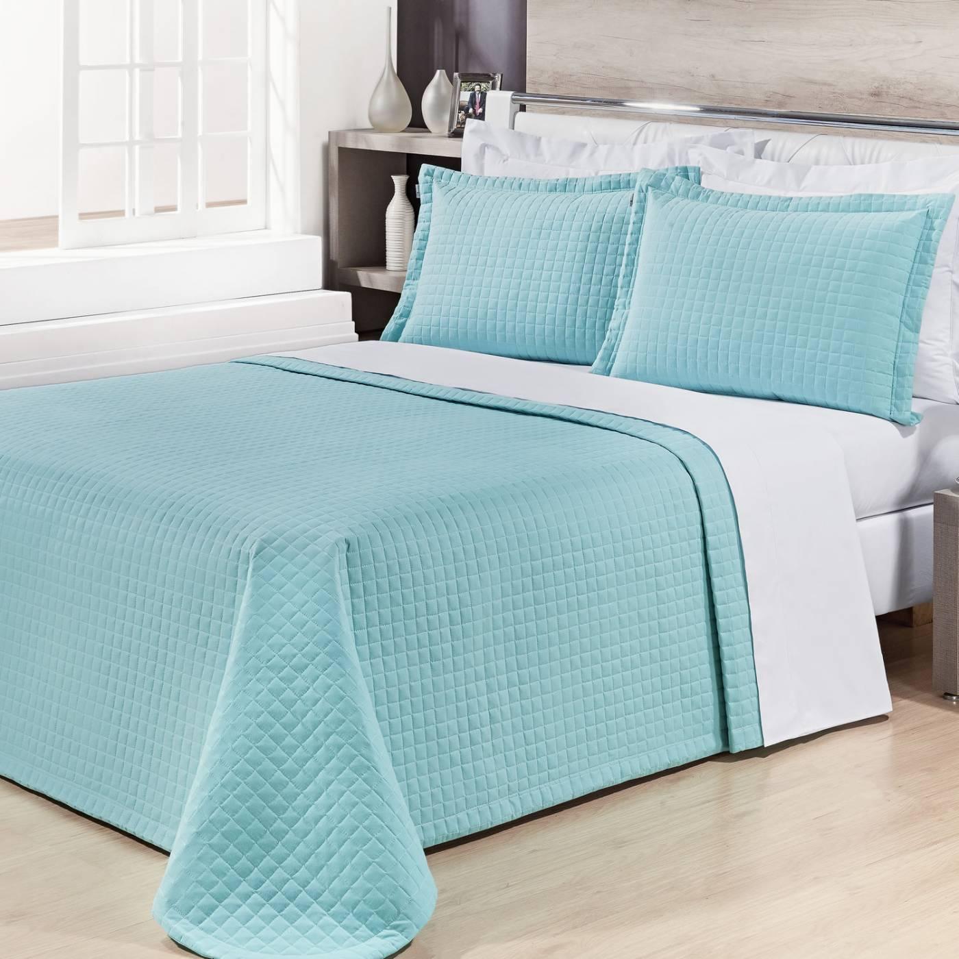 Cobre Leito Prátic Azul Tiffany Super King