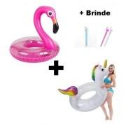 Kit 1 Boia Unicórnio 1 Boia Flamingo Grande Glitter + Brinde
