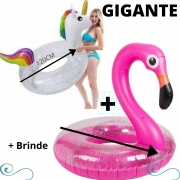 Kit Boia Flamingo e unicórnio Adulto piscina inflável super grande
