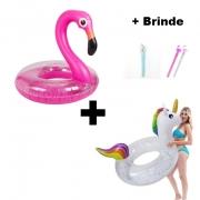 Kit Boia Unicórnio + Boia Flamingo Grande Piscina + Brinde