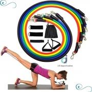 Kit de 11 Peças Extensor Elástico para Exercícios Academia