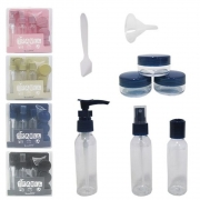 Kit mini garrafas para Viagem com Frascos de Plástico, Espátula e Funil 9 Peças