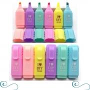 Kit Mini Marca Texto Com 6 cores neon