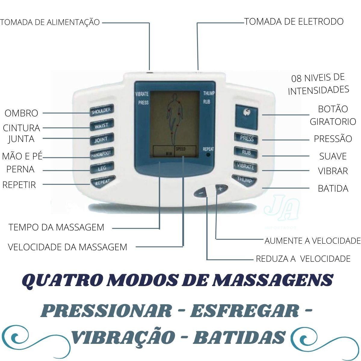 Aparelho fisioterapia Tens portátil Eletroterapia Acupuntura Pulsos aparelho massageador portatil eletrodos - tens01