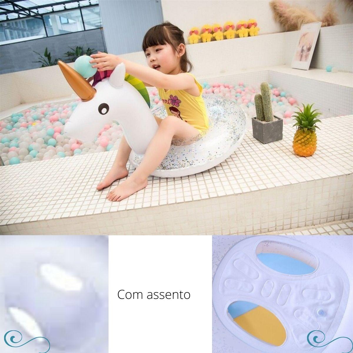 Boia Bote Inflável Infantil com Assento Unicórnio com Glitter