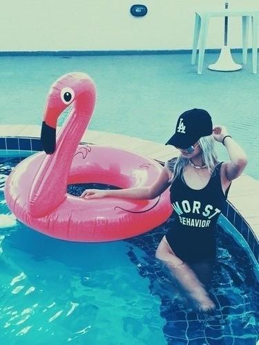 Boia Flamingo Cisne Rosa Sensação Dos Famosos Inflável 120cm