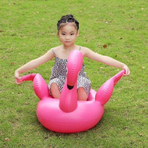 Boia Flamingo Para Bebê Cisne Rosa Inflável C/ Assento Verão
