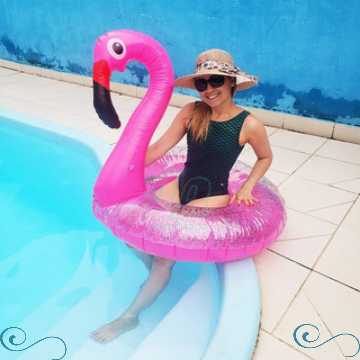 Boia Flamingo Rosa Pink Com Glitter Gigante Piscina Inflável 120cm
