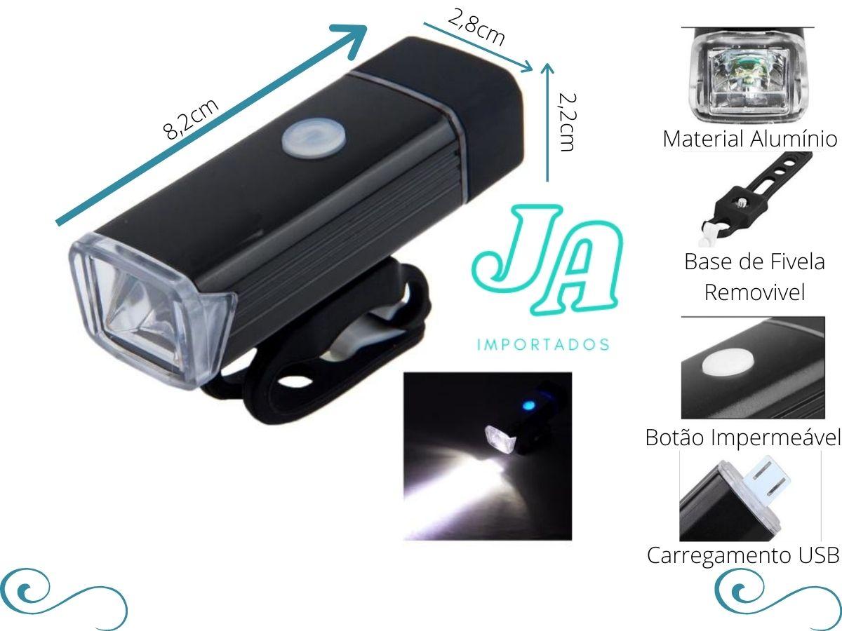 Farol Bike 180 Lumens Sinalizador Lanterna Led Preto Recarregável Usb Tsw - COPY-99079-2