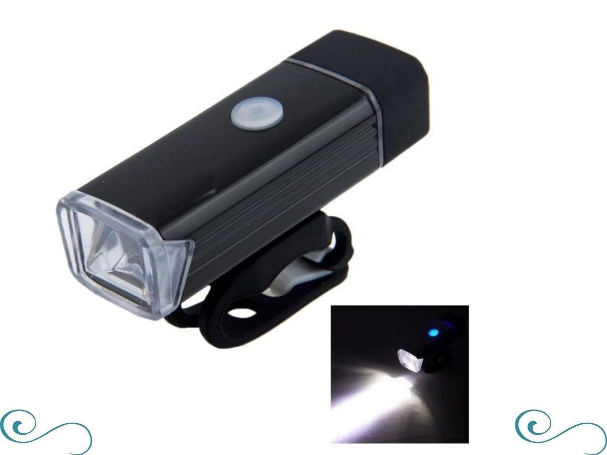 Farol lanterna led para bicicleta luz forte recarregável usb