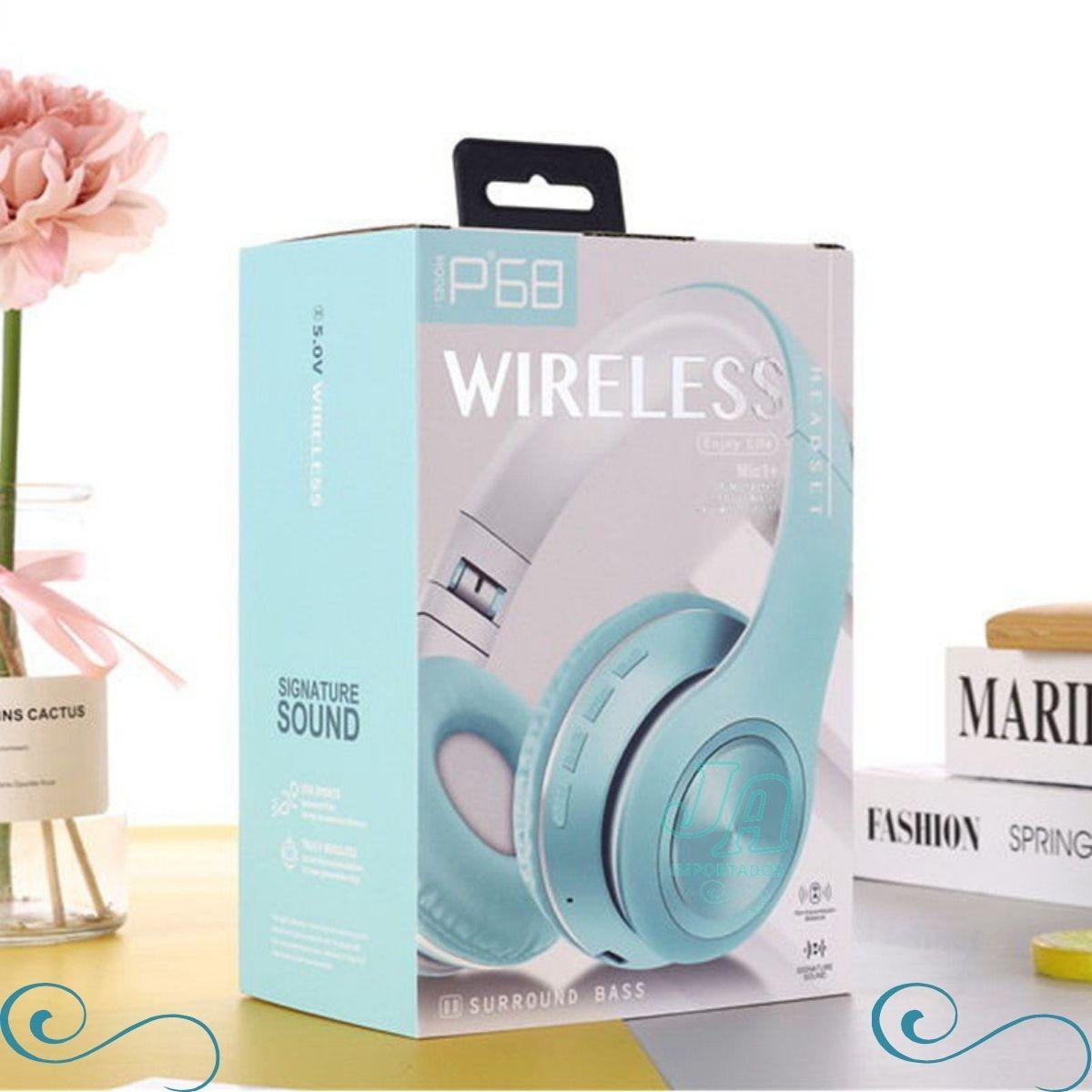 Fone De Ouvido Sem Fio Dobrável P68 Bluetooth 5.0