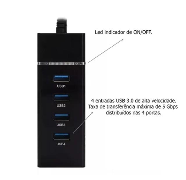 HUB USB 3.0 com 4 Portas e Led Indicador Exbom UH-30 - COPY-33960-4