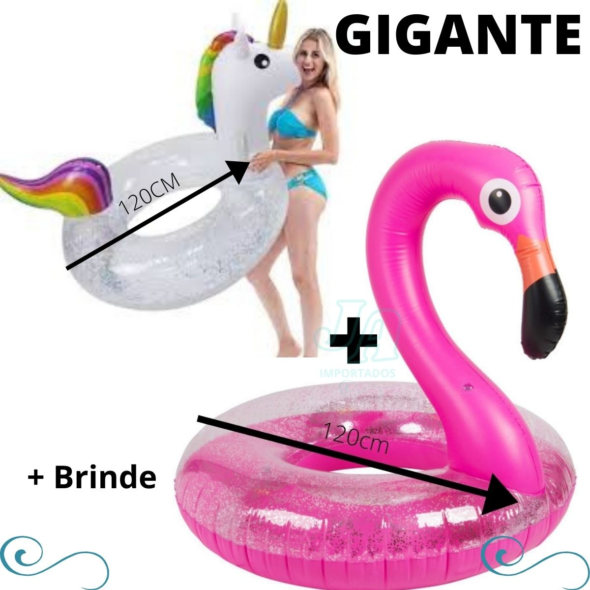 Kit Boia Flamingo e unicórnio Adulto piscina inflável super grande