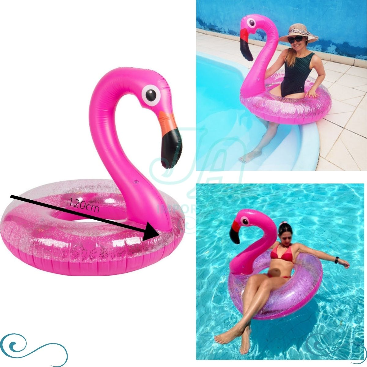 Kit Boia Flamingo grande Adulto gigante piscina inflável com glitter