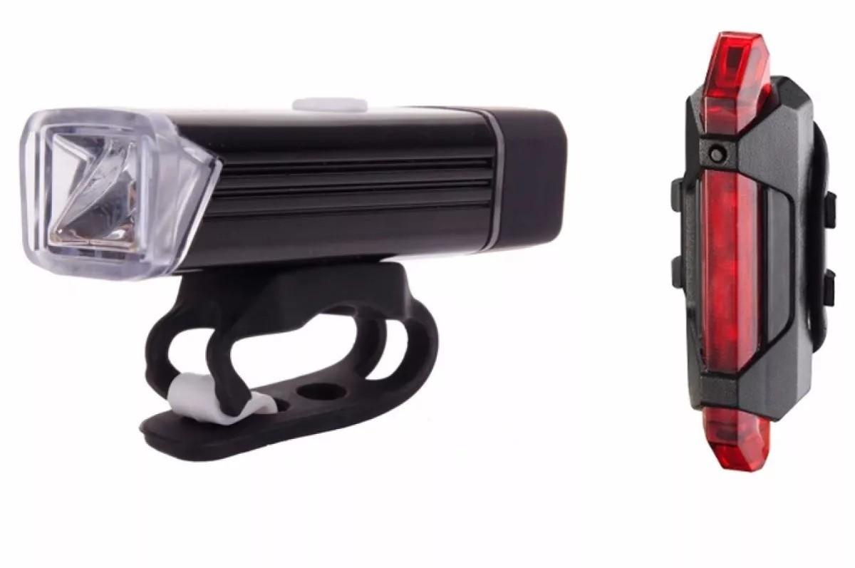 Kit Farol Lanterna Bike Recarregável Usb Led Dianteiro Traseira