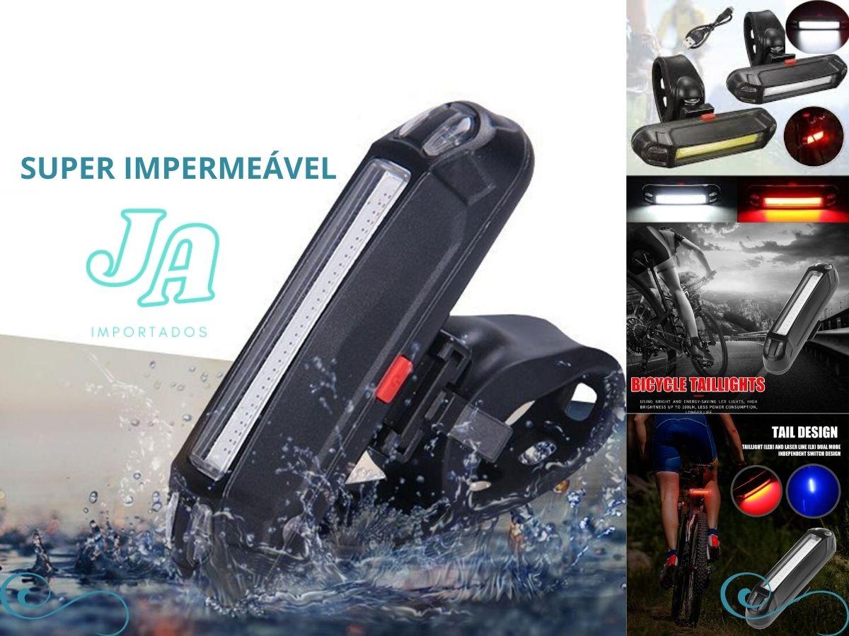Kit Lanterna Farol Traseiro dianteiro Luz Led Sinalizador Recarregável Bike