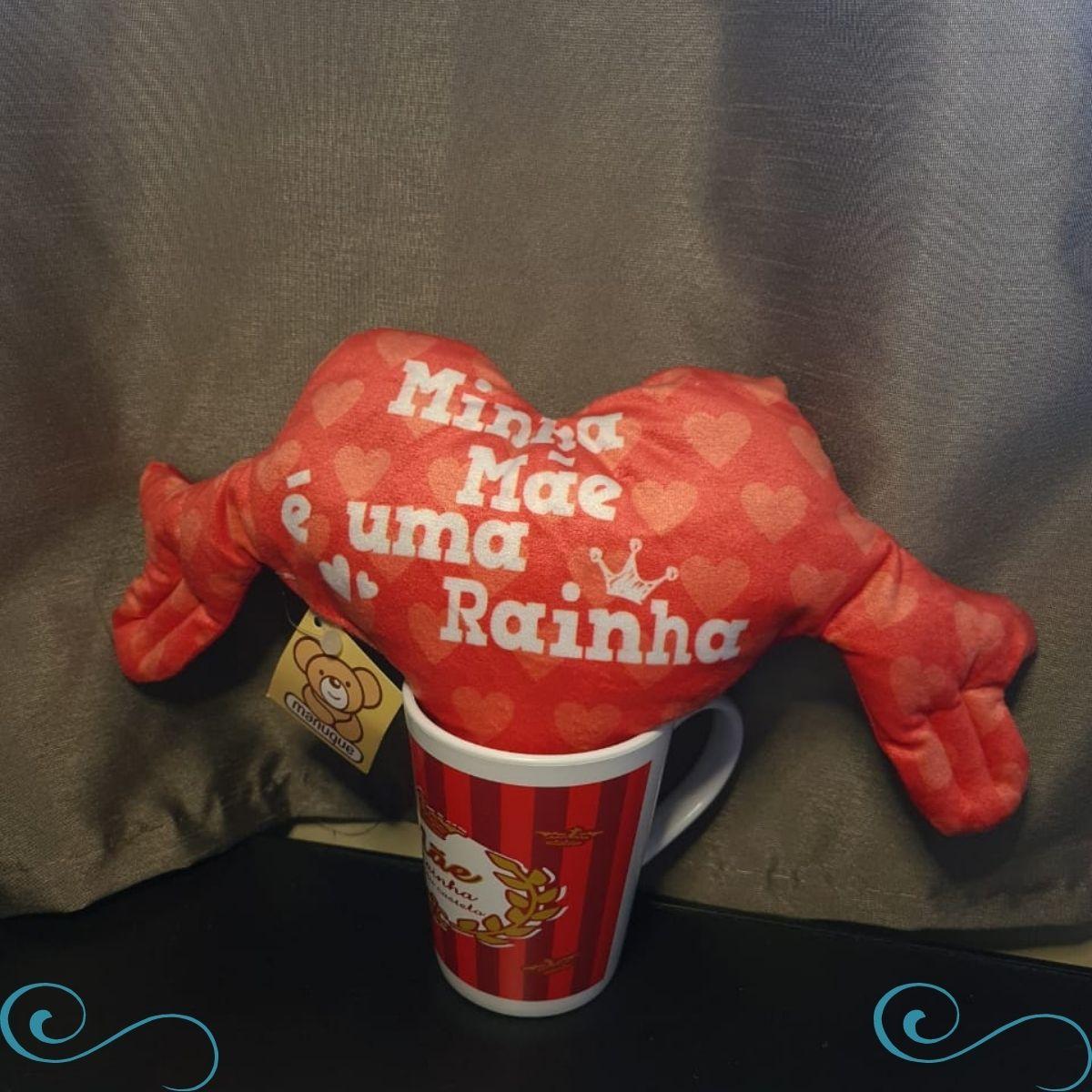 Kit mini travesseiro coracao com caneca Minha Super mae