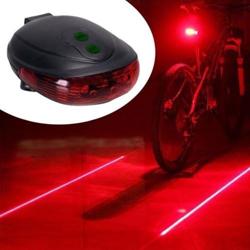Lanterna Bike Traseira C Ciclovia Virtual 5 Led Laser Farol