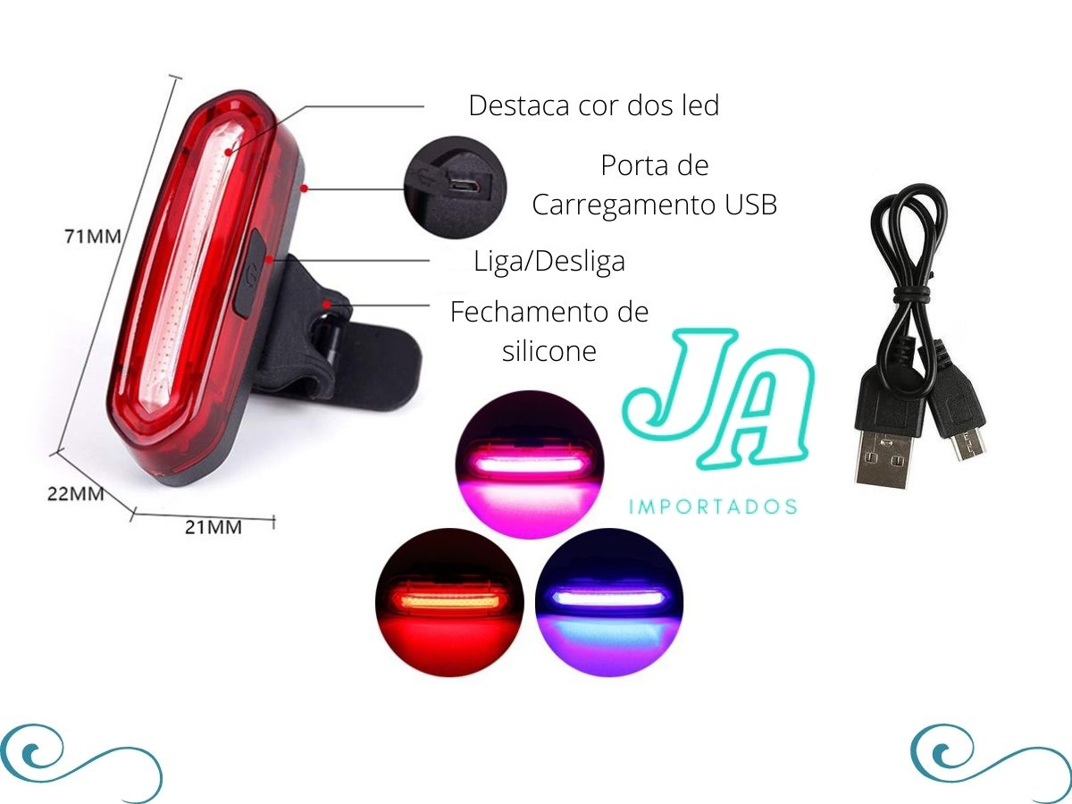 Lanterna Traseira Bike Usb 3 cores luz forte 120 lumens