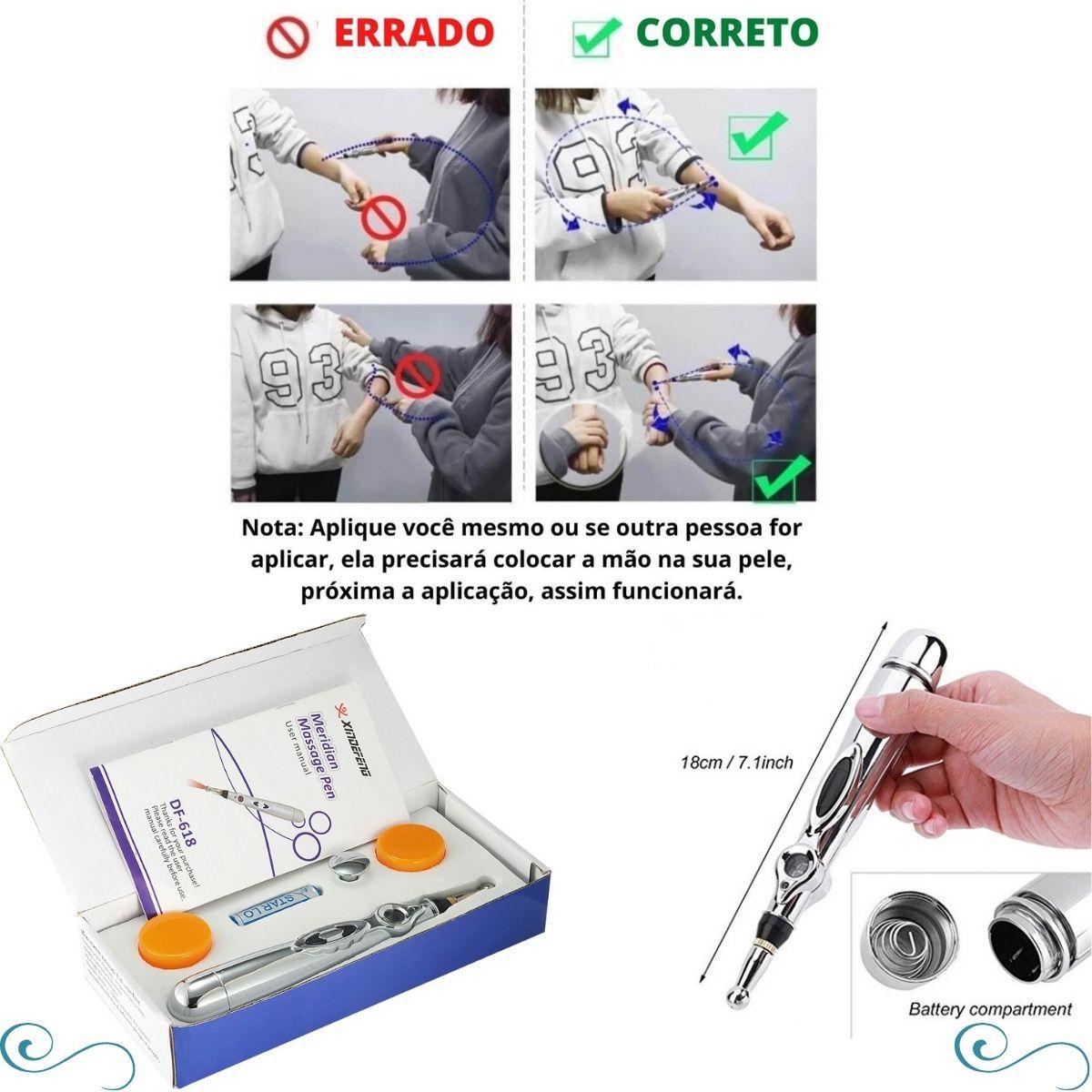 Massageado caneta acupuntura elétrica pulsos eletro estimulante localizado coluna músculo cervical facial - COPY-CANAC02-33