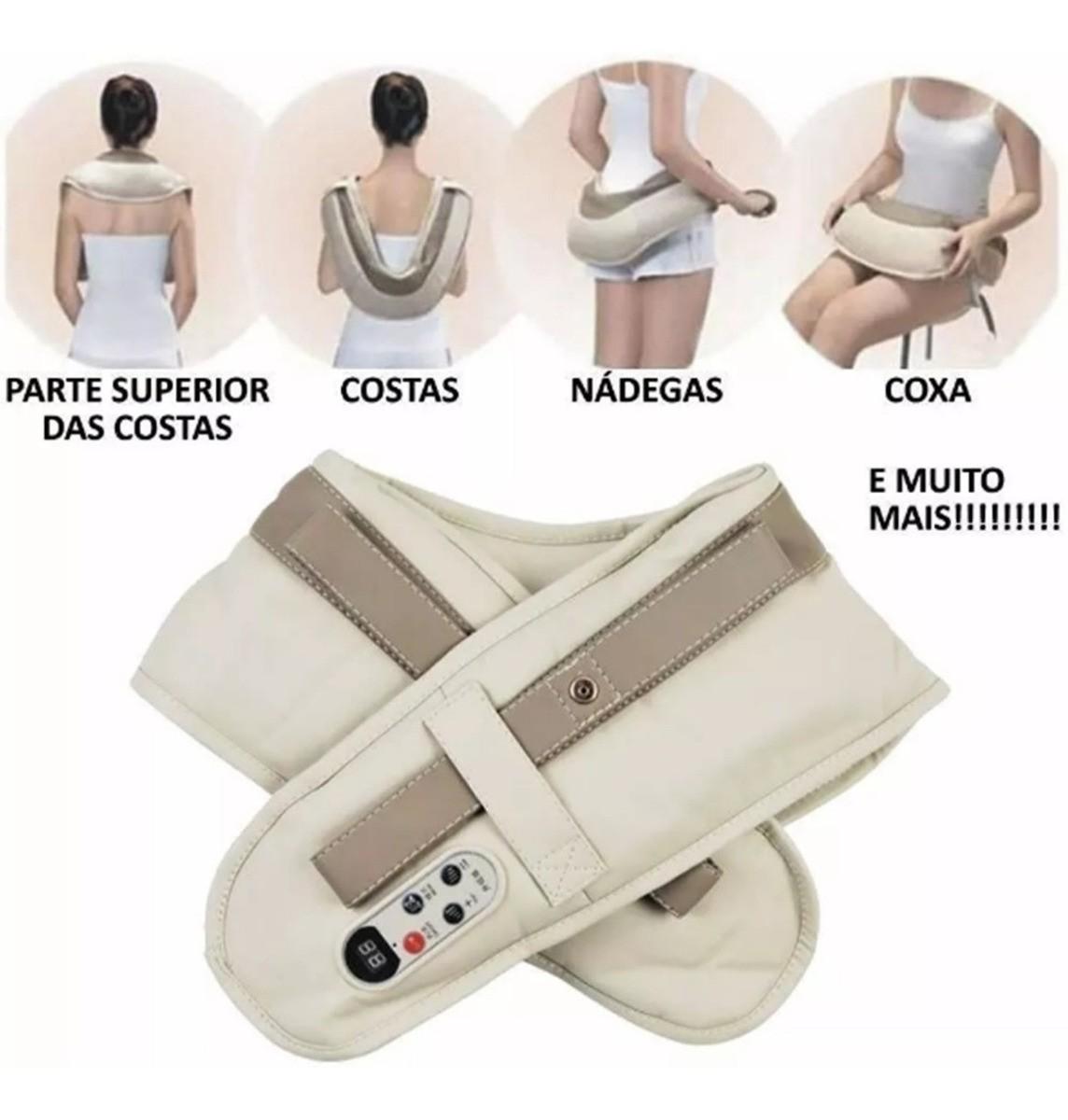 Massageador Cervical Elétrico Ombros Lombar Colete Shiatsu