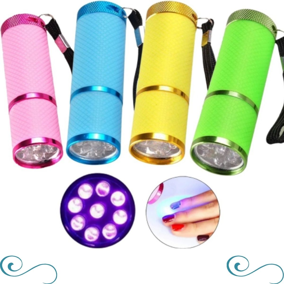 Mini lanterna ultravioleta 9 Led seca unha de gel