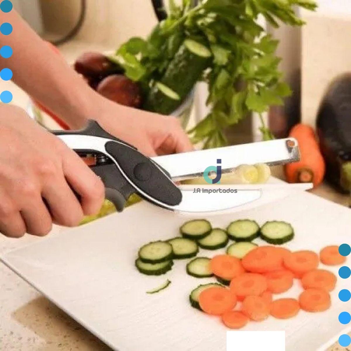 Tesoura Para Cortar Legumes  2 em 1 Em Aço Inox - Tesoura mágica
