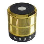 CAIXA DE SOM BLUETOOTH V3.0 WS-887 MINI SPEAKER DOURADA / PRETO CX-06 7834805859008